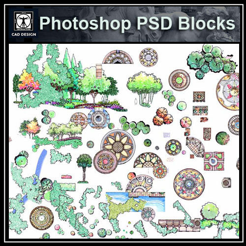 Hand-painted PSD Landscape Blocks 3 - CAD Design | Download CAD Drawings | AutoCAD Blocks | AutoCAD Symbols | CAD Drawings | Architecture Details│Landscape Details | See more about AutoCAD, Cad Drawing and Architecture Details