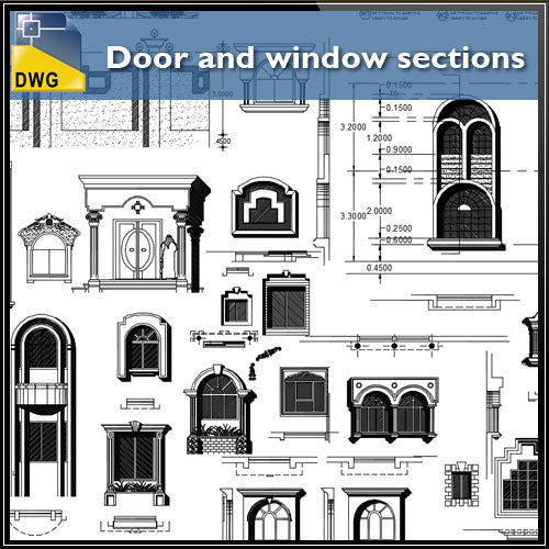 Door and window sections - CAD Design | Download CAD Drawings | AutoCAD Blocks | AutoCAD Symbols | CAD Drawings | Architecture Details│Landscape Details | See more about AutoCAD, Cad Drawing and Architecture Details