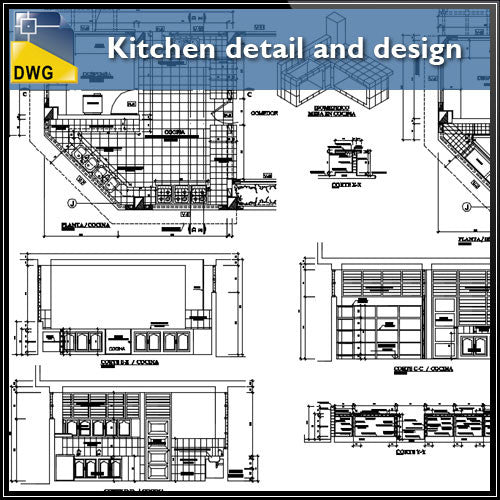 Kitchen detail and design - CAD Design | Download CAD Drawings | AutoCAD Blocks | AutoCAD Symbols | CAD Drawings | Architecture Details│Landscape Details | See more about AutoCAD, Cad Drawing and Architecture Details