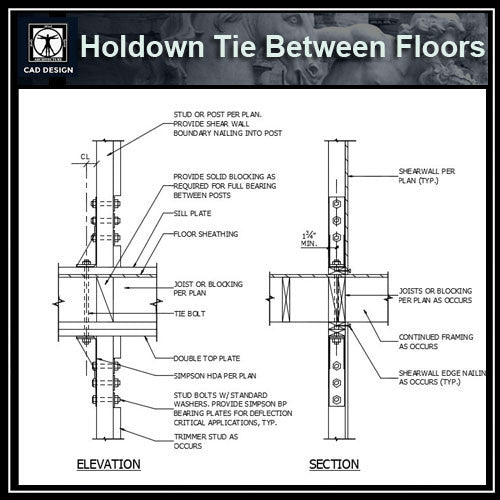 Free CAD Details-Holdown Tie Between Floors