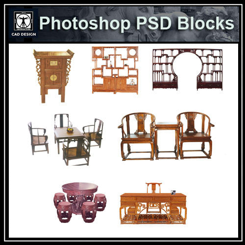 Photoshop PSD Chinese Furniture Blocks - CAD Design | Download CAD Drawings | AutoCAD Blocks | AutoCAD Symbols | CAD Drawings | Architecture Details│Landscape Details | See more about AutoCAD, Cad Drawing and Architecture Details