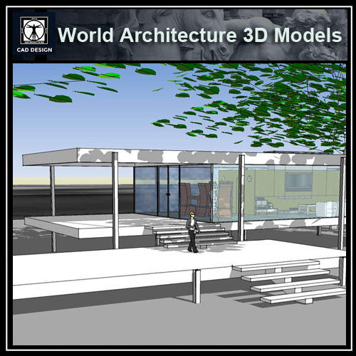 Sketchup 3D Architecture models-Farnsworth House(Ludwig Mies van der Rohe) - CAD Design | Download CAD Drawings | AutoCAD Blocks | AutoCAD Symbols | CAD Drawings | Architecture Details│Landscape Details | See more about AutoCAD, Cad Drawing and Architecture Details