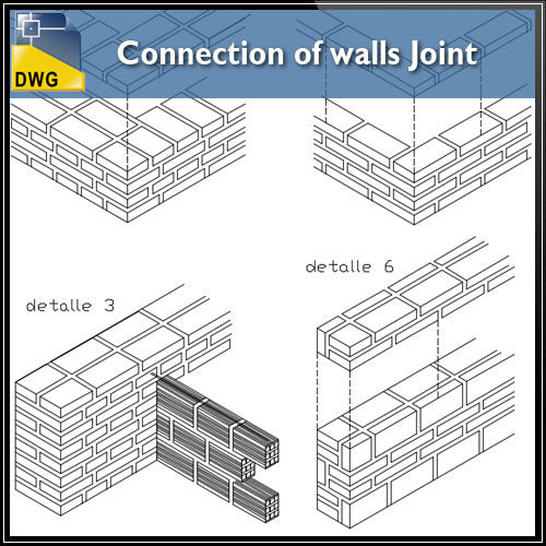 Connection of Walls Joint with Isometric view design drawing - CAD Design | Download CAD Drawings | AutoCAD Blocks | AutoCAD Symbols | CAD Drawings | Architecture Details│Landscape Details | See more about AutoCAD, Cad Drawing and Architecture Details