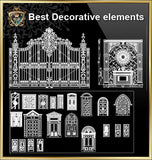 Over 500+ Neoclassical Interiors Decor, Decorative elements-Frame,Pattern,Border,Door,Windows,Cabinet,Lattice,Ceiling,Paving - CAD Design | Download CAD Drawings | AutoCAD Blocks | AutoCAD Symbols | CAD Drawings | Architecture Details│Landscape Details | See more about AutoCAD, Cad Drawing and Architecture Details