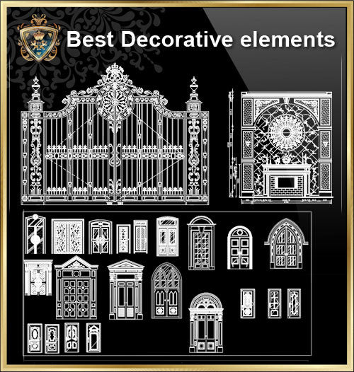 Over 500+ Neoclassical Interiors Decor, Decorative elements-Frame,Pattern,Border,Door,Windows,Cabinet,Lattice,Ceiling,Paving