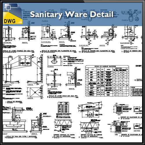 Sanitary Ware Detail - CAD Design | Download CAD Drawings | AutoCAD Blocks | AutoCAD Symbols | CAD Drawings | Architecture Details│Landscape Details | See more about AutoCAD, Cad Drawing and Architecture Details