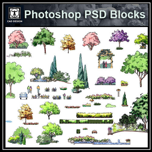 Hand-painted PSD Tree Blocks 3 - CAD Design | Download CAD Drawings | AutoCAD Blocks | AutoCAD Symbols | CAD Drawings | Architecture Details│Landscape Details | See more about AutoCAD, Cad Drawing and Architecture Details
