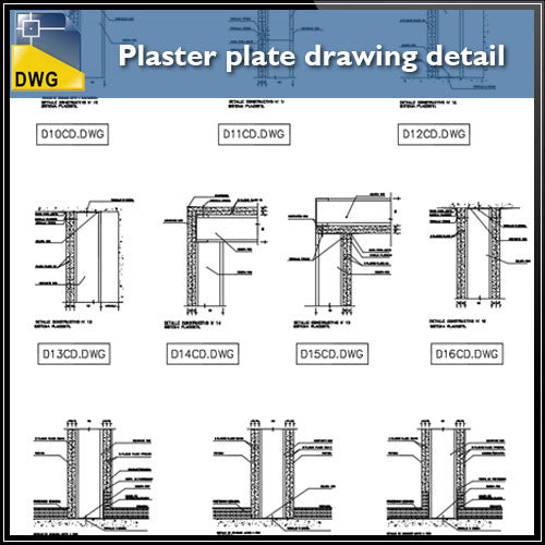Free Plaster plate drawing detail in autocad dwg files