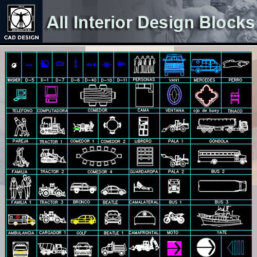 All Interior Design Blocks 3 - CAD Design | Download CAD Drawings | AutoCAD Blocks | AutoCAD Symbols | CAD Drawings | Architecture Details│Landscape Details | See more about AutoCAD, Cad Drawing and Architecture Details