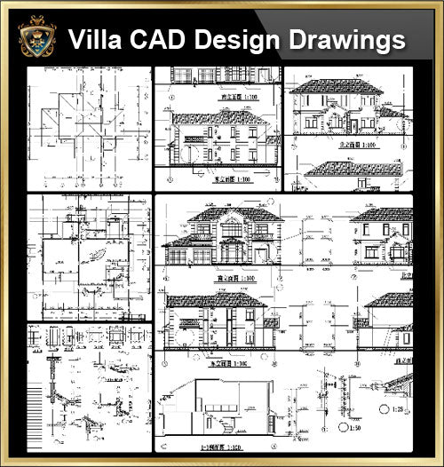★【Villa CAD Design,Details Project V.15】Chateau,Manor,Mansion,Villa@Autocad Blocks,Drawings,CAD Details,Elevation