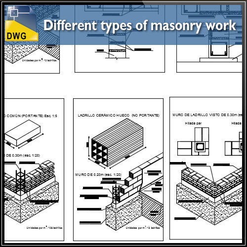 Different types of masonry work design drawing