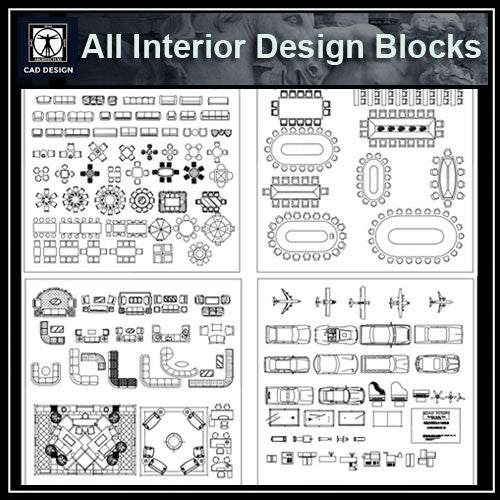 All Interior Design Blocks 1 - CAD Design | Download CAD Drawings | AutoCAD Blocks | AutoCAD Symbols | CAD Drawings | Architecture Details│Landscape Details | See more about AutoCAD, Cad Drawing and Architecture Details