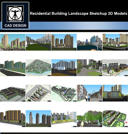 【Sketchup 3D Models】20 Types of Residential Building Landscape Sketchup 3D Models  V.7 - CAD Design | Download CAD Drawings | AutoCAD Blocks | AutoCAD Symbols | CAD Drawings | Architecture Details│Landscape Details | See more about AutoCAD, Cad Drawing and Architecture Details
