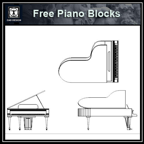 Free Furniture Blocks-Piano - CAD Design | Download CAD Drawings | AutoCAD Blocks | AutoCAD Symbols | CAD Drawings | Architecture Details│Landscape Details | See more about AutoCAD, Cad Drawing and Architecture Details