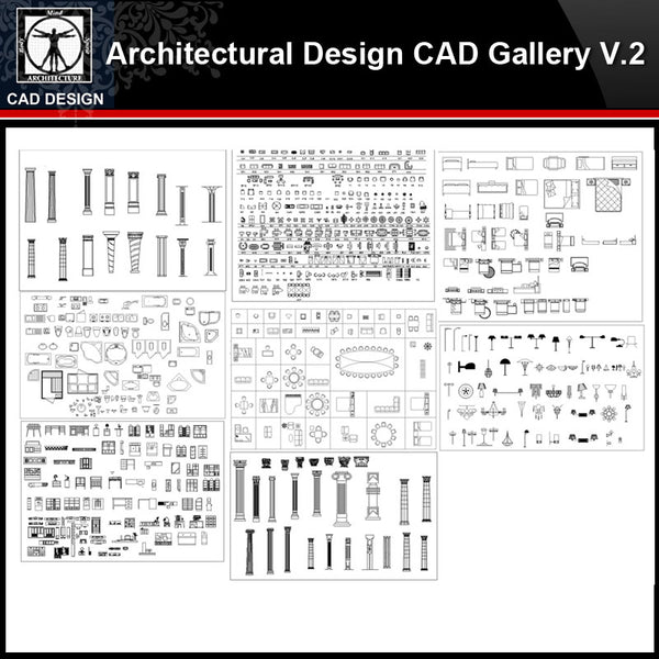 ★【Architectural Design Gallery Autocad Drawings V.2】All Decoration elements Bundle - CAD Design | Download CAD Drawings | AutoCAD Blocks | AutoCAD Symbols | CAD Drawings | Architecture Details│Landscape Details | See more about AutoCAD, Cad Drawing and Architecture Details