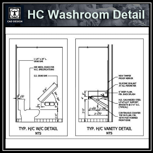 HC Washroom Details - CAD Design | Download CAD Drawings | AutoCAD Blocks | AutoCAD Symbols | CAD Drawings | Architecture Details│Landscape Details | See more about AutoCAD, Cad Drawing and Architecture Details