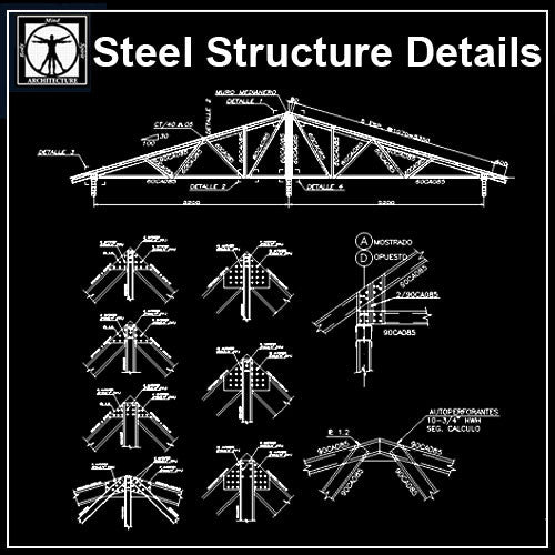 Free Steel Structure Details 4 - CAD Design | Download CAD Drawings | AutoCAD Blocks | AutoCAD Symbols | CAD Drawings | Architecture Details│Landscape Details | See more about AutoCAD, Cad Drawing and Architecture Details