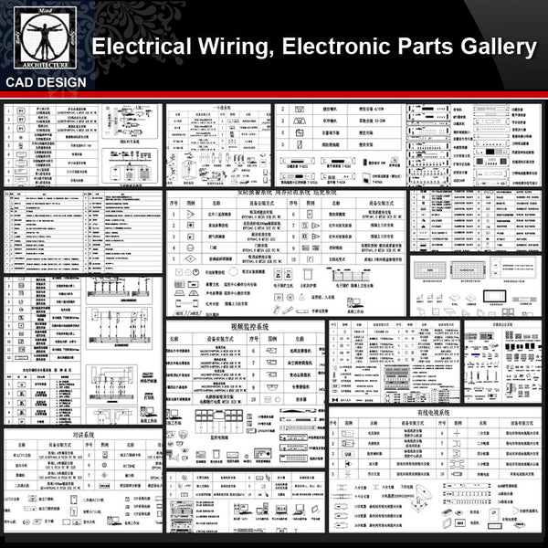 ★【Electrical Wiring,Electronic Parts Gallery】All kinds of Electronic Parts CAD Blocks Bundle