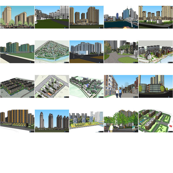【Sketchup 3D Models】20 Types of Residential Building ...