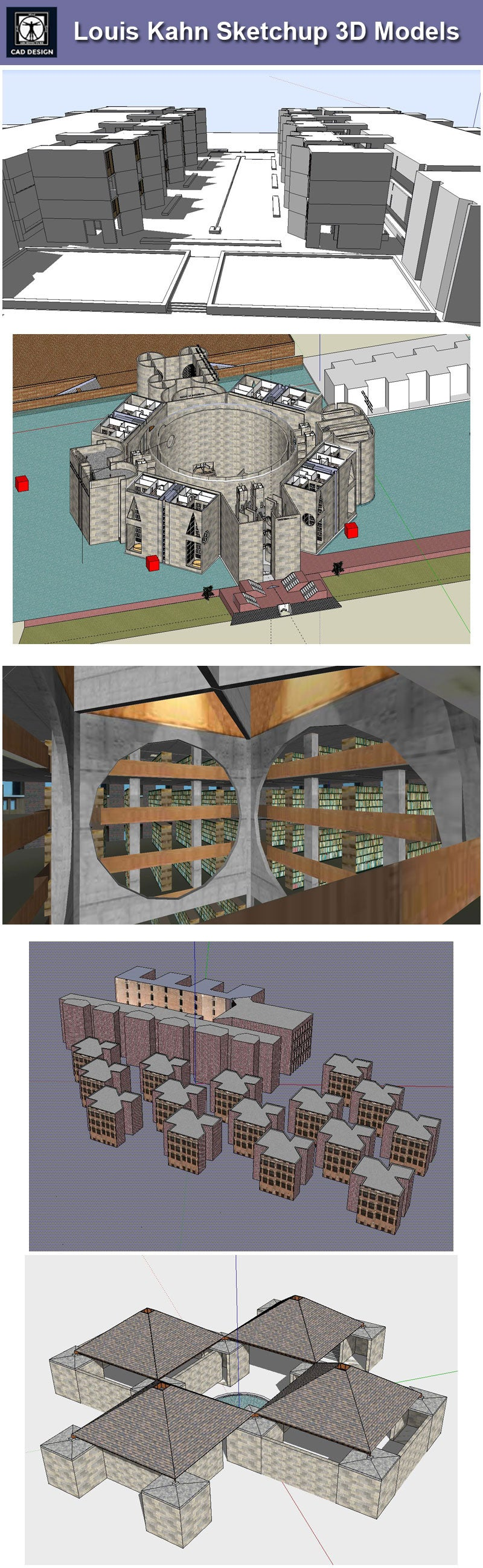 Download 7 Projects of Louis Kahn Architecture Sketchup 3D Models
