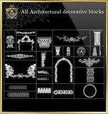 All Architectural decorative blocks V.8 - CAD Design | Download CAD Drawings | AutoCAD Blocks | AutoCAD Symbols | CAD Drawings | Architecture Details│Landscape Details | See more about AutoCAD, Cad Drawing and Architecture Details