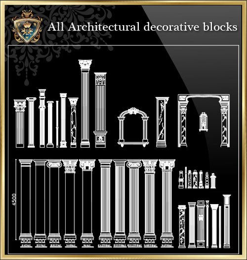 All Architectural decorative blocks V.12 - CAD Design | Download CAD Drawings | AutoCAD Blocks | AutoCAD Symbols | CAD Drawings | Architecture Details│Landscape Details | See more about AutoCAD, Cad Drawing and Architecture Details