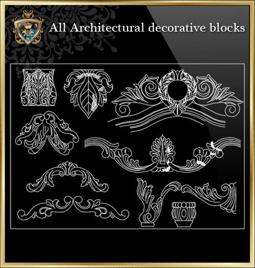 All Architectural decorative blocks V.5 - CAD Design | Download CAD Drawings | AutoCAD Blocks | AutoCAD Symbols | CAD Drawings | Architecture Details│Landscape Details | See more about AutoCAD, Cad Drawing and Architecture Details