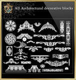 All Architectural decorative blocks V.3 - CAD Design | Download CAD Drawings | AutoCAD Blocks | AutoCAD Symbols | CAD Drawings | Architecture Details│Landscape Details | See more about AutoCAD, Cad Drawing and Architecture Details
