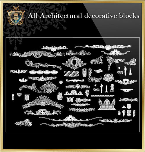 All Architectural decorative blocks V.6 - CAD Design | Download CAD Drawings | AutoCAD Blocks | AutoCAD Symbols | CAD Drawings | Architecture Details│Landscape Details | See more about AutoCAD, Cad Drawing and Architecture Details