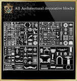 All Architectural decorative blocks V.2 - CAD Design | Download CAD Drawings | AutoCAD Blocks | AutoCAD Symbols | CAD Drawings | Architecture Details│Landscape Details | See more about AutoCAD, Cad Drawing and Architecture Details