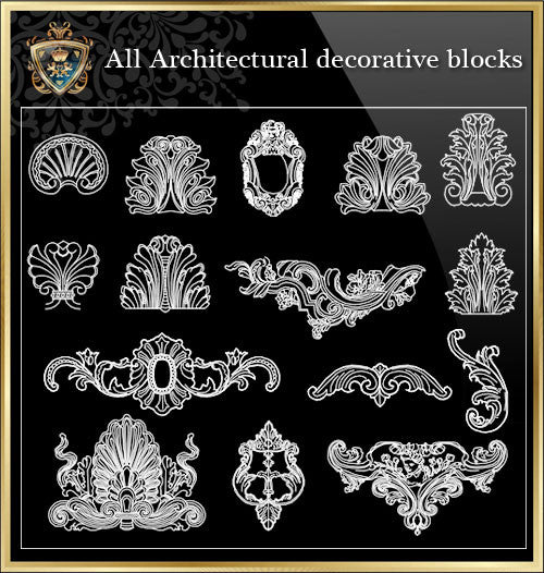 All Architectural decorative blocks V.10 - CAD Design | Download CAD Drawings | AutoCAD Blocks | AutoCAD Symbols | CAD Drawings | Architecture Details│Landscape Details | See more about AutoCAD, Cad Drawing and Architecture Details