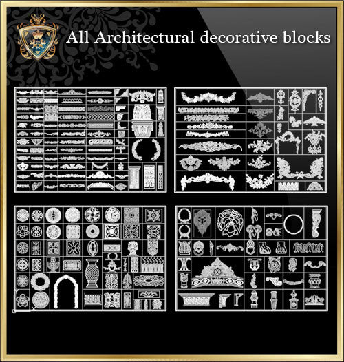 All Architectural decorative blocks V.1 - CAD Design | Download CAD Drawings | AutoCAD Blocks | AutoCAD Symbols | CAD Drawings | Architecture Details│Landscape Details | See more about AutoCAD, Cad Drawing and Architecture Details