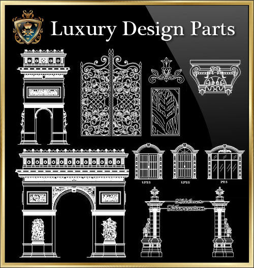 ★Luxury Interior Design Parts V.4★Best Recommanded!! - CAD Design | Download CAD Drawings | AutoCAD Blocks | AutoCAD Symbols | CAD Drawings | Architecture Details│Landscape Details | See more about AutoCAD, Cad Drawing and Architecture Details