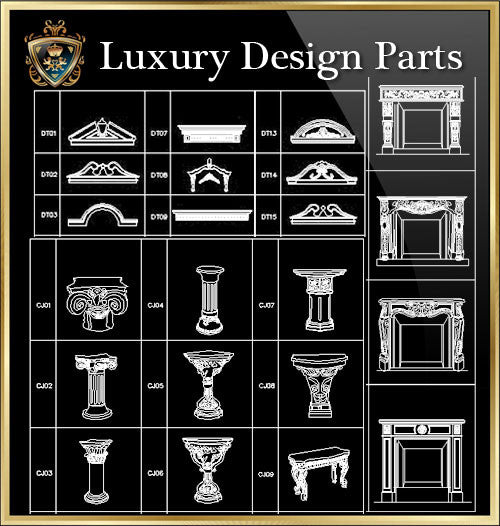 ★Luxury Interior Design Parts V.6★Best Recommanded!! - CAD Design | Download CAD Drawings | AutoCAD Blocks | AutoCAD Symbols | CAD Drawings | Architecture Details│Landscape Details | See more about AutoCAD, Cad Drawing and Architecture Details