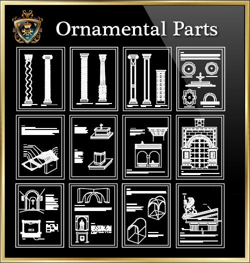 ★Architecture Ornamental Parts V.1★ - CAD Design | Download CAD Drawings | AutoCAD Blocks | AutoCAD Symbols | CAD Drawings | Architecture Details│Landscape Details | See more about AutoCAD, Cad Drawing and Architecture Details