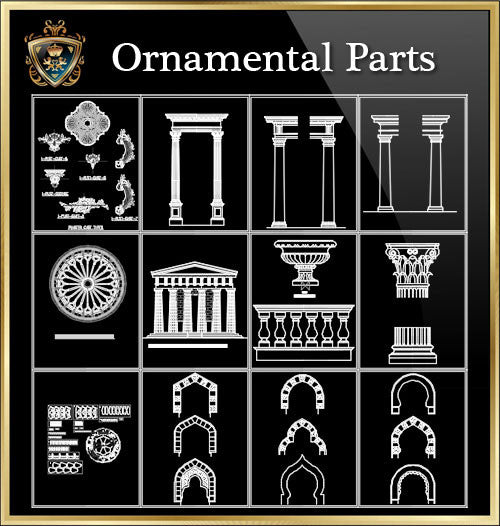★Architecture Ornamental Parts V.2★ - CAD Design | Download CAD Drawings | AutoCAD Blocks | AutoCAD Symbols | CAD Drawings | Architecture Details│Landscape Details | See more about AutoCAD, Cad Drawing and Architecture Details
