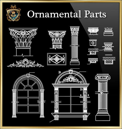 ★Architecture Ornamental Parts V.8★ - CAD Design | Download CAD Drawings | AutoCAD Blocks | AutoCAD Symbols | CAD Drawings | Architecture Details│Landscape Details | See more about AutoCAD, Cad Drawing and Architecture Details