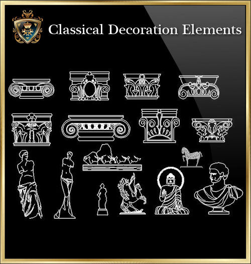 ★Luxury Interior Design -Classical Decoration Elements V.1★ - CAD Design | Download CAD Drawings | AutoCAD Blocks | AutoCAD Symbols | CAD Drawings | Architecture Details│Landscape Details | See more about AutoCAD, Cad Drawing and Architecture Details