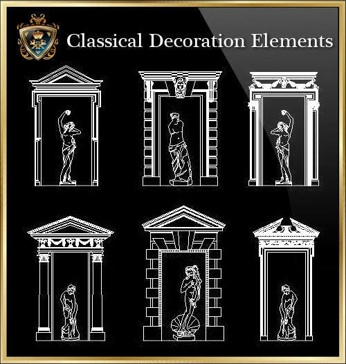 ★Luxury Interior Design -Classical Decoration Elements V.2★ - CAD Design | Download CAD Drawings | AutoCAD Blocks | AutoCAD Symbols | CAD Drawings | Architecture Details│Landscape Details | See more about AutoCAD, Cad Drawing and Architecture Details