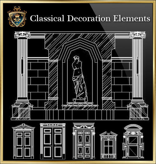 ★Luxury Interior Design -Classical Decoration Elements V.3★ - CAD Design | Download CAD Drawings | AutoCAD Blocks | AutoCAD Symbols | CAD Drawings | Architecture Details│Landscape Details | See more about AutoCAD, Cad Drawing and Architecture Details