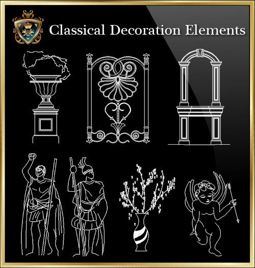 Free Classical Decoration Blocks V.2 - CAD Design | Download CAD Drawings | AutoCAD Blocks | AutoCAD Symbols | CAD Drawings | Architecture Details│Landscape Details | See more about AutoCAD, Cad Drawing and Architecture Details