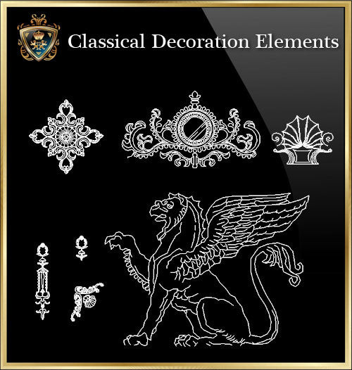 Free Classical Decoration Blocks V.3 - CAD Design | Download CAD Drawings | AutoCAD Blocks | AutoCAD Symbols | CAD Drawings | Architecture Details│Landscape Details | See more about AutoCAD, Cad Drawing and Architecture Details