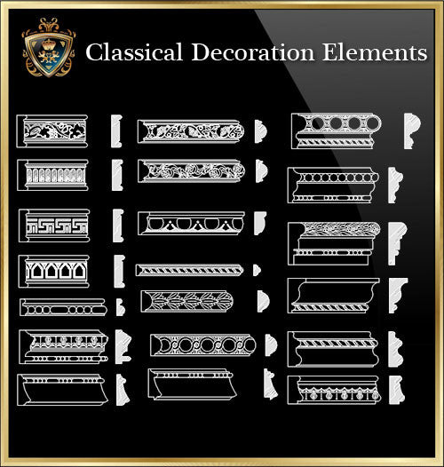 Free Classical Decoration Blocks V.5 - CAD Design | Download CAD Drawings | AutoCAD Blocks | AutoCAD Symbols | CAD Drawings | Architecture Details│Landscape Details | See more about AutoCAD, Cad Drawing and Architecture Details