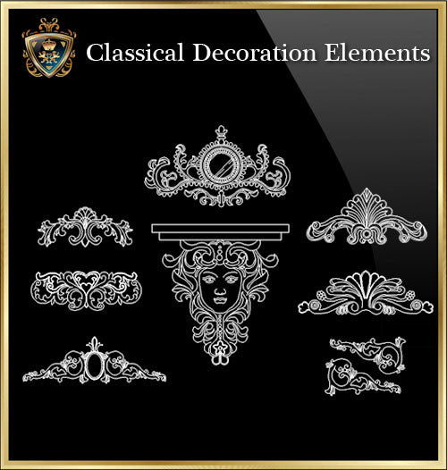 Free Classical Decoration Blocks V.6 - CAD Design | Download CAD Drawings | AutoCAD Blocks | AutoCAD Symbols | CAD Drawings | Architecture Details│Landscape Details | See more about AutoCAD, Cad Drawing and Architecture Details