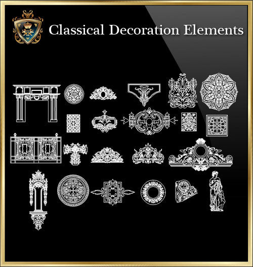 Free Classical Decoration Blocks V.8 - CAD Design | Download CAD Drawings | AutoCAD Blocks | AutoCAD Symbols | CAD Drawings | Architecture Details│Landscape Details | See more about AutoCAD, Cad Drawing and Architecture Details