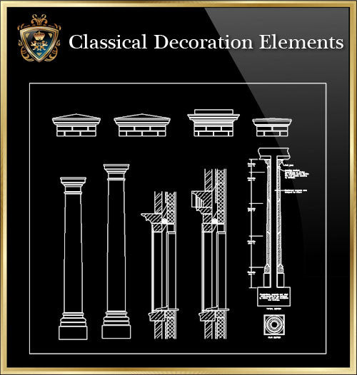 Free Classical Decoration Blocks V.14 - CAD Design | Download CAD Drawings | AutoCAD Blocks | AutoCAD Symbols | CAD Drawings | Architecture Details│Landscape Details | See more about AutoCAD, Cad Drawing and Architecture Details