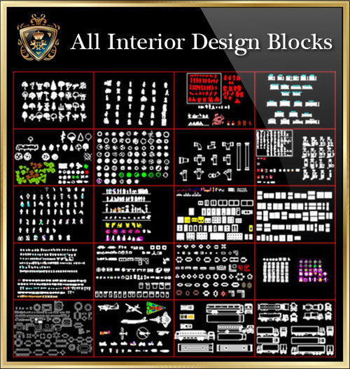 Interior Design CAD Blocks Collection V.2 - CAD Design | Download CAD Drawings | AutoCAD Blocks | AutoCAD Symbols | CAD Drawings | Architecture Details│Landscape Details | See more about AutoCAD, Cad Drawing and Architecture Details