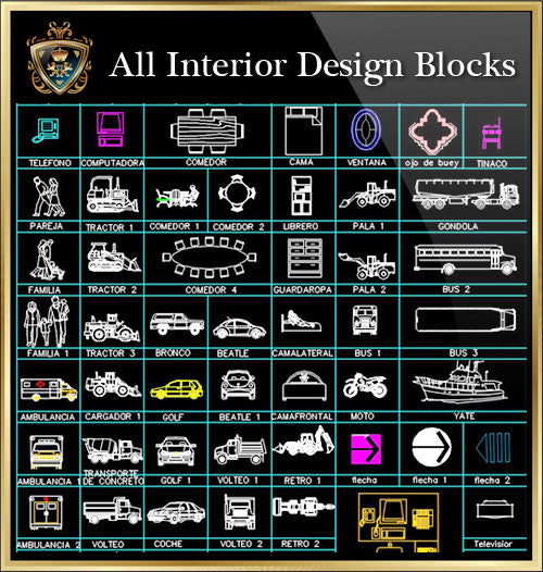 Interior Design CAD Blocks Collection V.3