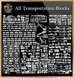 Transportations Vehicles Lorries CAD Blocks Collection
