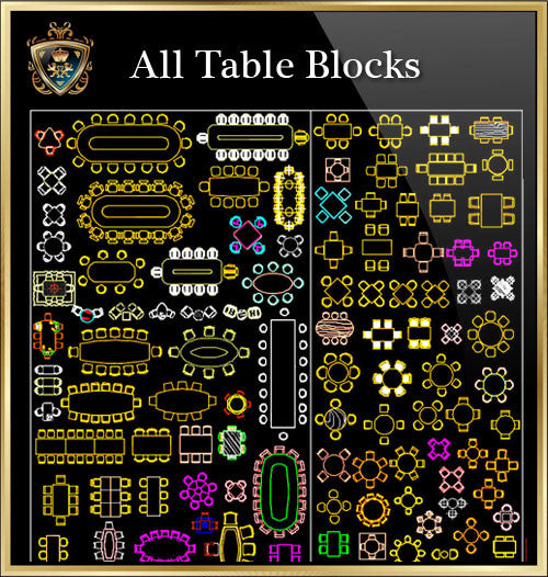 Table CAD Blocks Collection